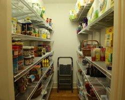 Pantry with wire shelves on both sides of door.
