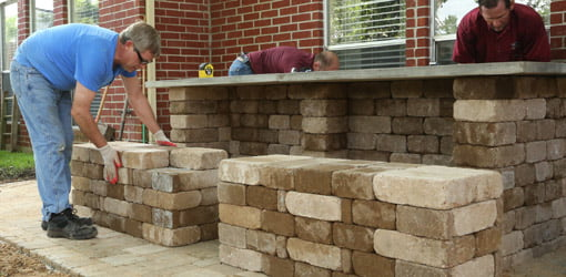 Stacking the pavers for the picnic table benches.