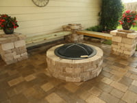 Paver fire pit on patio.