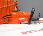 ECHO Cordless Hedge Trimmer on top of box in store.