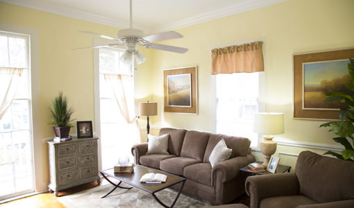 Living room with yellow painted walls, white woodwork, and brown upholstered furniture.
