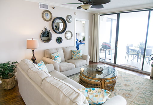 The living room of the newly renovated beachfront condo.