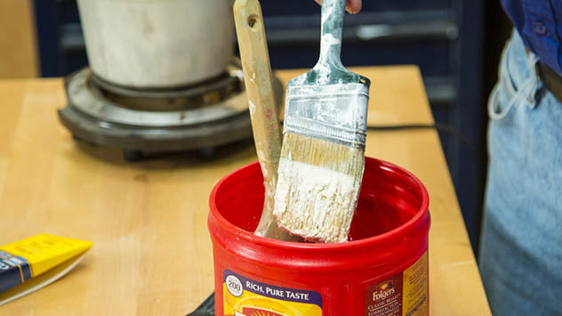 Soak brushes in mineral spirits to clean oil-based paints, stains, and varnishes.