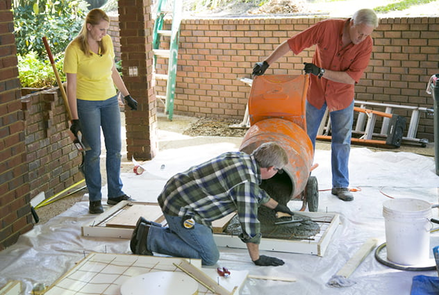 pouring concrete in melamine forms
