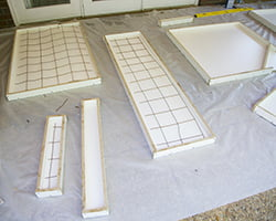 The forms are made from melamine with rebar for reinforcement.