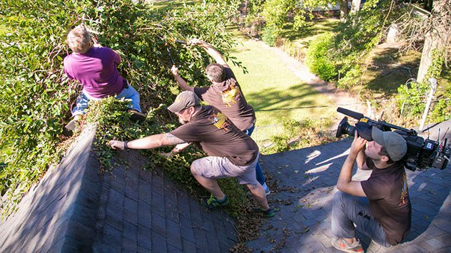 removing vegetation from the roof.