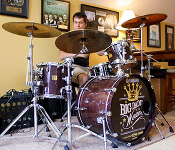 Jeff Jones plays drums