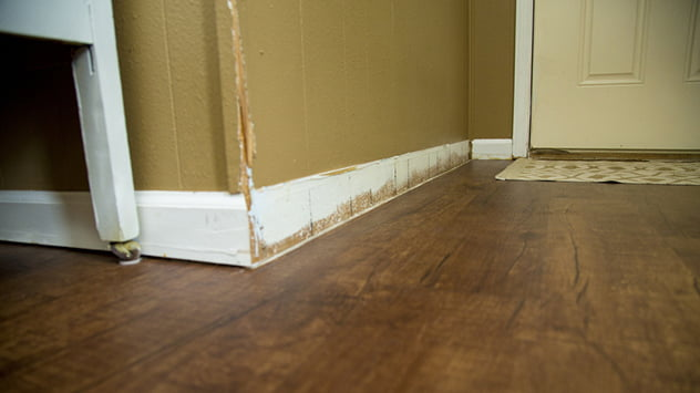 The Pippins installed new floors, but the living room had dated wood paneling and lacked consistent moldings.