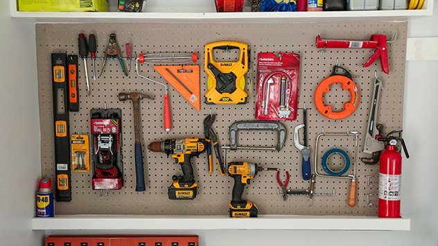 pegboard with tools