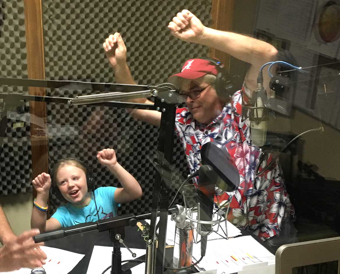 Allen Lyle and Emma in radio booth
