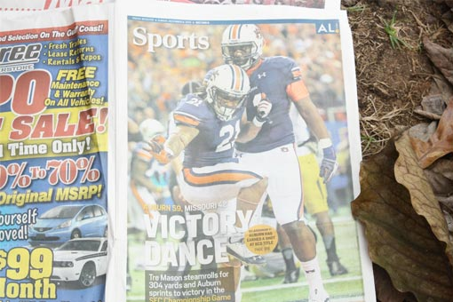 Auburn Tigers win SEC Championship on cover of newspaper