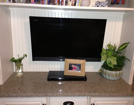 TV mounted on back wall with plants on either side
