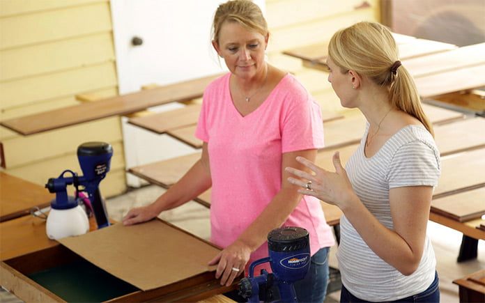 """""""Today's Homeowner"""" host Chelsea Lipford Wolf discusses painting safety with a homeowner on the set of Today's Homeowner."""