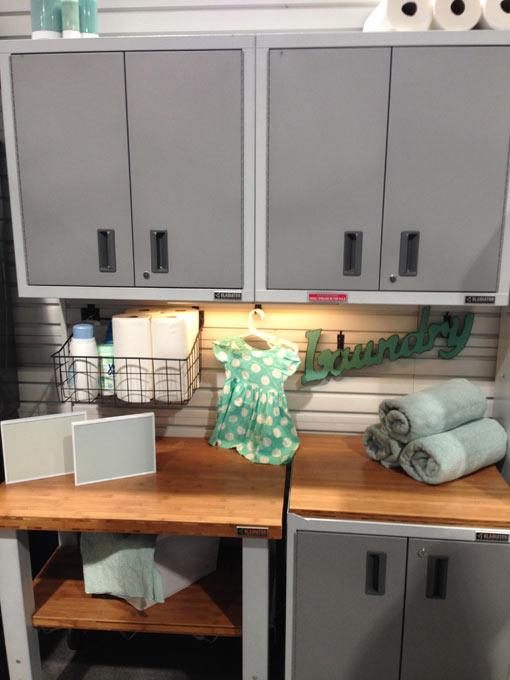 Laundry room application for Gladiator GarageWorks new cabinet color