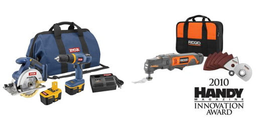 Ryobi P824 18-volt One+ Starter Kit and RIDGID 12-volt Job Max Multi-Tool Starter Kit