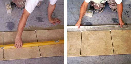 Level tile. Align edges of tile.
