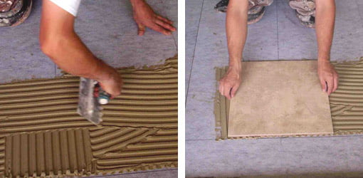 Spread thin-set adhesive. Set tile in adhesive.