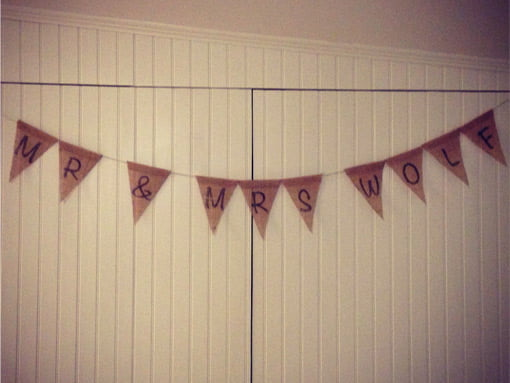 Bunting banner hanging on beaded board