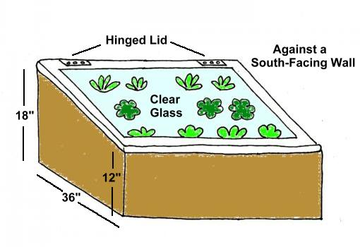 Drawing of sample cold frame with hinged lid against south facing wall, 36