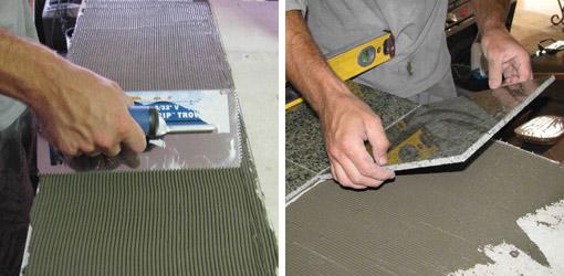 Applying thin-set mortar adhesive and laying tile.