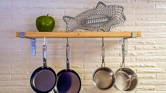 Shelf for hanging pots and pans