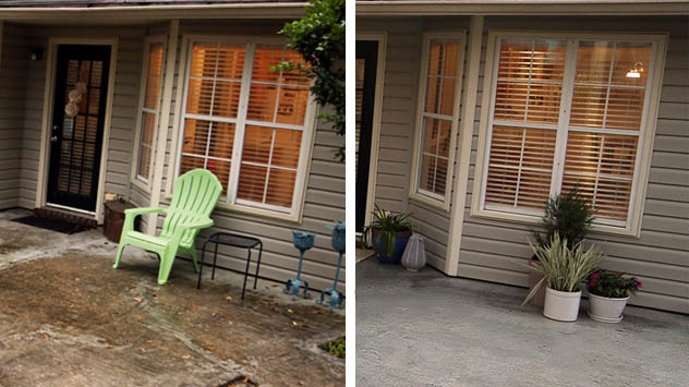 Concrete patio, before and after