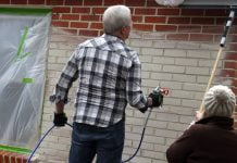 """""""Today's Homeowner"""" hosts Danny Lipford and Chelsea Lipford Wolf paint a brick home's exterior"""