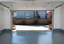Garage floor with epoxy coating; viewed from the inside looking out