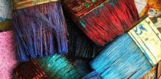 Paintbrushes with hardened paint