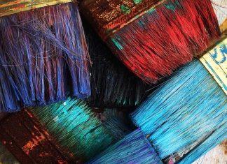 Paintbrushes with hardened paint