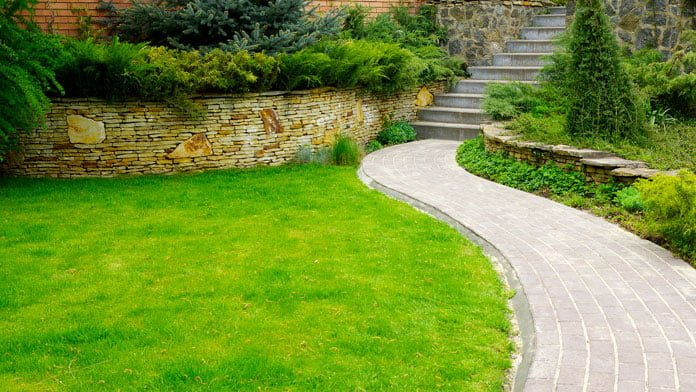 Lawn with concrete walkway
