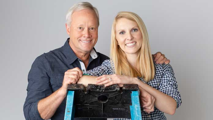 'Today's Homeowner' TV hosts Danny Lipford and Chelsea Lipford Wolf lean on a ladder