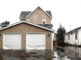 Flood-damaged house
