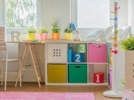 Kids' room toy storage, canvas totes stores in bookcase