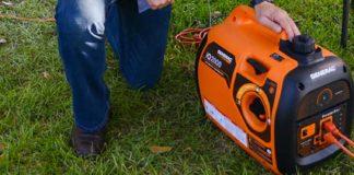 Portable Generac Generator resting on a lawn