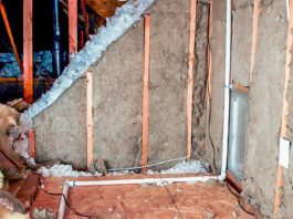Rockwool insulation, as installed in a cellar