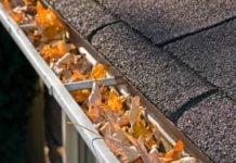 Gutters filled with fallen leaves