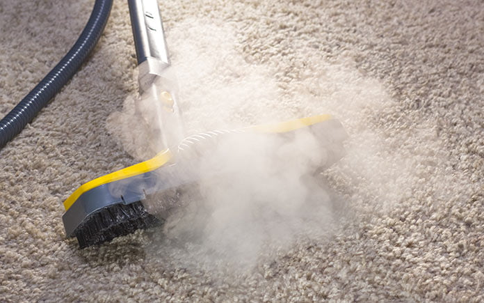 Steam cleaning carpet with a vacuum