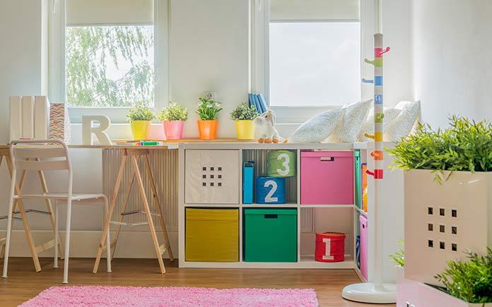 Toy storage in kids' room