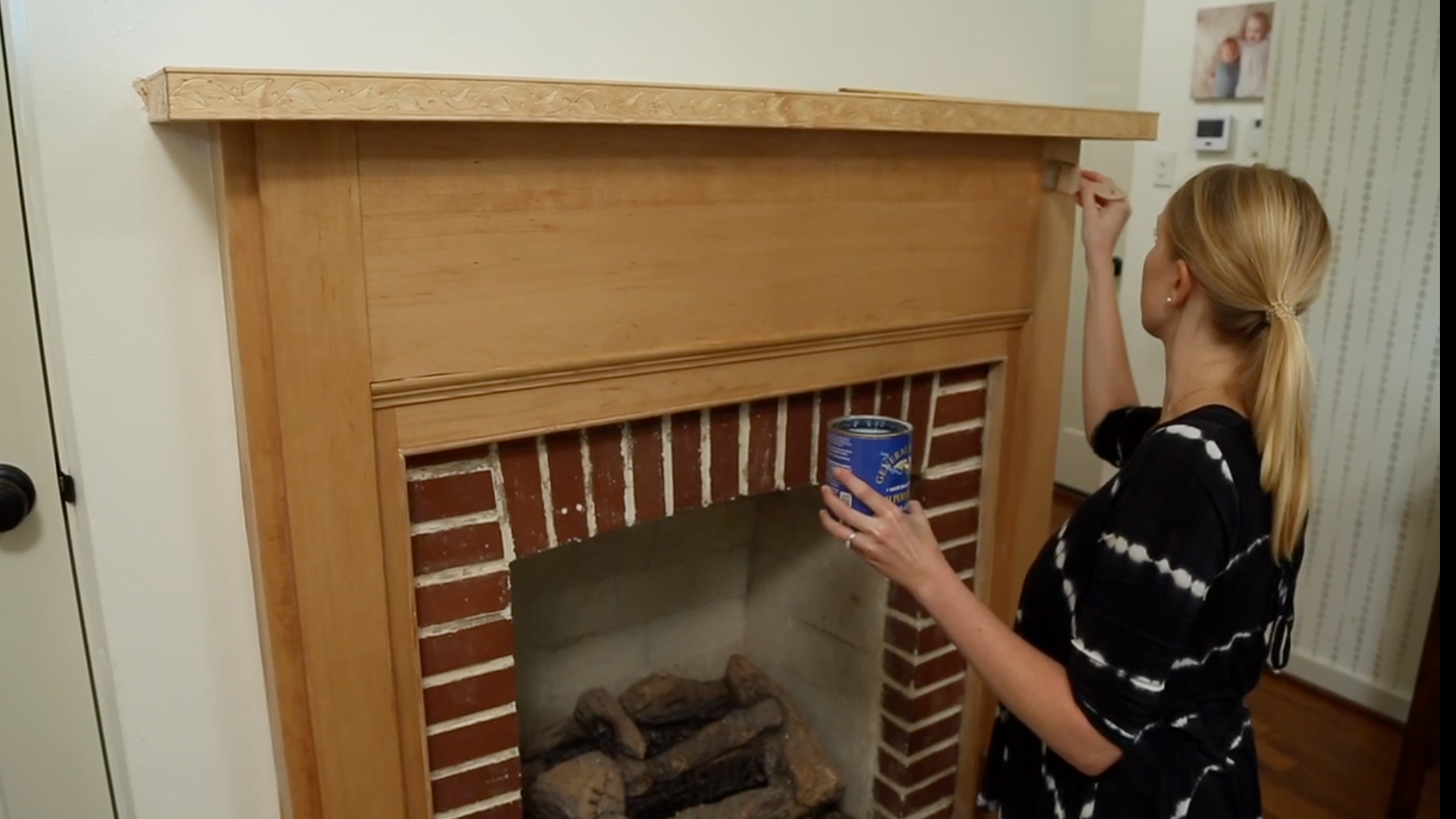 Chelsea Lipford Wolf paints her fireplace