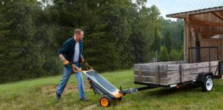 Man using the Worx Aerocart as a wheelbarrow.