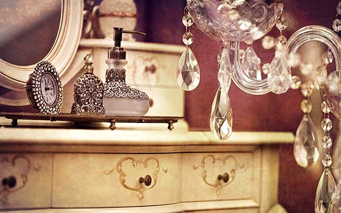 Antique chandelier in powder room