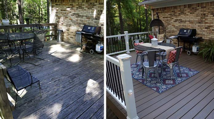 Deck before and after; from wood deck to composite deck