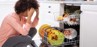 Dirty dishes waiting in the dishwasher