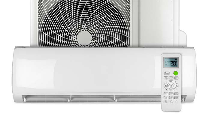 Ductless mini-split air conditioner with remote control
