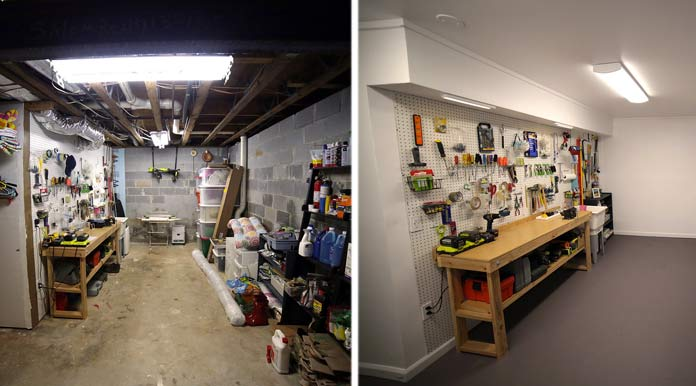 Basement finishing, before and after