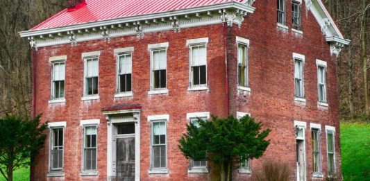 Wheeling House, a two-story, brick historic home in West Virginia.