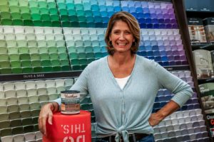 Jodi Marks, pictured at The Home Depot with Varathane weathered wood accelerator
