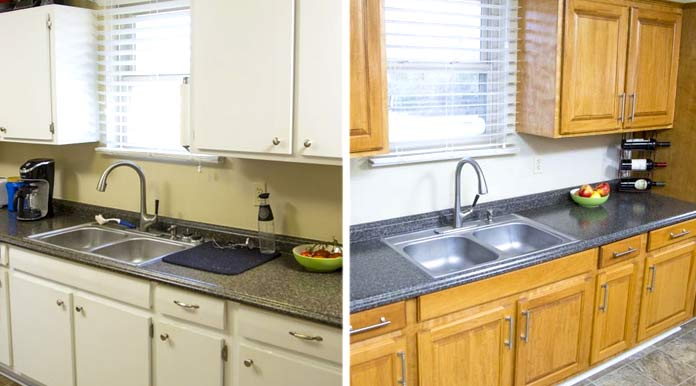 Kitchen cabinets refaced, before and after