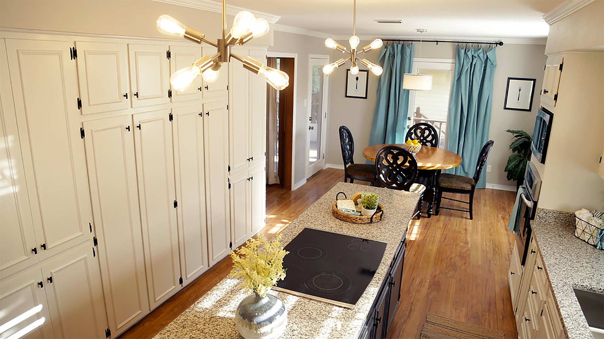 Upgraded kitchen, staged and ready for viewing by homebuyers